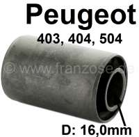 P 403/404/504, bonded-rubber bushing mounting plate spring at the rear axle, Peugeot 403, Peugeot 404 + 404 Pick UP, Peugeot 504 Pick UP.  Measurements inside 16mm, outside 32mm. Length inside 54mm, outside 50mm - 73059 - Der Franzose