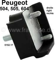 P 504/505/604, mounting (fixture) rear axle, on the right (rubber metal handle). Dimension: 45 x 69 x 44mm. Suitable for Peugeot 504, 505, 604. Or. No. 5152.17 - 73386 - Der Franzose