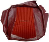 P 304, vinyl Rouge 3306 - material Rouge 2311, seat cushion cover in front on the left, Peugeot 304 sedan, except USA.  Or.Nr.898086 - 78511 - Der Franzose