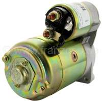 Starter motor (new part) suitable for Peugeot 404 petrol, starting from year of construction 1967. Peugeot 504 with 1,6L + 1,8L + 2,0L engine. Peugeot J7 petrol. 9 teeth.  Rotation in the clockwise direction. Mounting holes, center to center: 106mm. The starter motor is a new part. An old part return is not necessary! Or. No. 5802.82 -2 - 72110 - Der Franzose