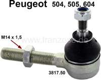 P 504/505/604, tie rod end M14x1,5, suitable on the left of or on the right. Ball: M10. Height ball: 74mm. Lengthens threaded rod to ball: 75mm. Suitable for Peugeot to year 1980. Peuheot 505 + 604. - 73116 - Der Franzose