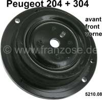 P 204/304, spring plate, front above. Mounting of the shock absorber. Suitable for Peugeot 304, to chassis number 3.015.671. Peugeot 204 first version. Or. No. 5210.08 - 73622 - Der Franzose