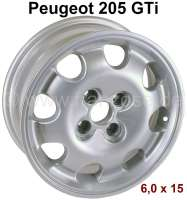 Rim, size: 6.0 x 15. Insertion depth: 19. Pitch diameter: 4 x 108. Center in the middle (centring): 65,1mm (for original center cap 5421,89). Suitable for Peugeot 205 GTI (1,9). The wheel screwed joints (pin holes) have a 60° taper coil. The rim are supplied with german TÜV papers. | 73634 | Der Franzose - www.franzose.de