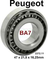 P 403/404/504/505, bearing for the jackshaft, rear (gearbox BA7). Suitable for Peugeot 403, Peugeot 404, Peugeot 504, Peugeot 505. Outside diameter: 47mm. Inside diameter: 21,5mm. Overall height: 16.25 mm. Or. No. 2372.11 - 70744 - Der Franzose
