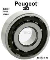 P 203, wheel bearing front. Suitable for Peugeot 203. Outside diameter: 52mm. Inside diameter: 20mm. Wide one: 15mm. Or. No. 2372.05 - 73621 - Der Franzose