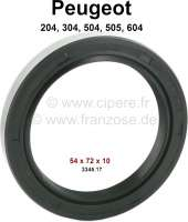 P 204/304/504/505, wheel bearing shaft seal. Dimension: 54 x 72 x 10mm (wheel bearing inside). Suitable for Peugeot 204, 304, 504, 505, 604. Or. No. 3345.17 - 73354 - Der Franzose