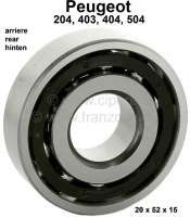 P 204/403/404/504, wheel bearing rear (exterior bearing). Outside diameter: 52mm. Inside diameter: 20mm. Wide one: 15mm. Suitable for Peugeot 204, 403, 404 + 504. Or. No. 3735.03 Made in Spain - 73311 - Der Franzose