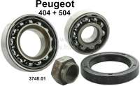 P 404/504, wheel bearing set, suitable for Peugeot 504 to year of construction 10/1976.  Very good quality! Measurements: 2 bearings 30 x 62 x 14,25mm. 1x shaft seal, 1 nut. Or. No. 374801 - 73439 - Der Franzose