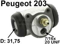 P 203/D3A, wheel brake cylinder in front, 31.75mm piston diameter, Peugeot 203 starting from year of construction 07/1954 to production end. Mounting board bore = 36 mm, brake line connector = 7/16x24 UNF, length over everything = 68 mm. Made in France - 74585 - Der Franzose