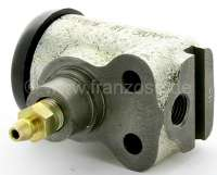 P 403/404, wheel brake cylinder in front. 1 piston (30mm). Brake line connector: 7/16 x 24 UNF. Suitable for Peugeot 403 + 404 (starting from year of construction 1965). Mounting board bore 22mm. Length over all 65mm. Or. No. 4401-20. Made in France -1 - 74163 - Der Franzose