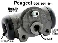 Wheel brake cylinder, rear, for Peugeot 304,404  Cabrio and Coupe, suitable for left and right side, piston: 15/16 inch (23,81 mm) Bendix Nr. 621672 Peugeot Nr. 440237.  Made in Europe. - 74219 - Der Franzose