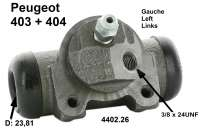 Wheel brake cylinder rear left, for Peugeot 403 and 404, piston:15/16 inch,(23,81mm). Connector 3/8 x 24UNF. Or.Nr. 440226. Made in Europe. - 74299 - Der Franzose