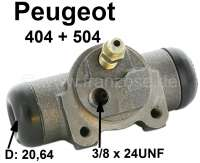 wheel brake cylinder rear left Peugeot 404+504. System Bendix, 20,64mm piston, connection 3/8 24UNF (9,525mm). 404 all models with themostable brakes starting from 1969 504 10/70 till 01/71. Overall length 84mm. Made in Europe. - 74423 - Der Franzose