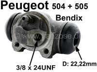 wheel brake cylinder, rear left side, Peugeot 504, 505, system Bendix, 22mm, Berline >04/75 GL-GR-DR-Diesel >07/77 - 74069 - Der Franzose