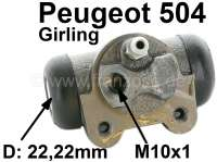 wheel brake cylinder, rear left side, Peugeot 504, system Girling, 22.225mm, Berline >04/73 GL-GR-DR-Diesel >07/77 - 74068 - Der Franzose