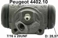 P 203/403/404, wheel brake cylinder rear. Piston diameter: 28,57mm. Brake line connector: 7/16 x 20 UNF. Or. No. 4402.10. Bendix No. 621019.  Mounting board bore = 36 mm. Length over everything = 72 mm. Suitable for Peugeot 403 at the rear left, to 2757587 + 2819484. Peugeot 403 rear on the right, starting from 2757588, 2819485 (with that 403 the mounting of the brake line was changed). Peugeot 404 rear on the right. - 74206 - Der Franzose