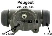 P 204/304/404/Simca, wheel brake cylinder at the rear left. Suitable for Peugeot 204, 304, 404. Simca 1300, 1301. Piston diameter: 17,46mmmm (11/16 customs). Brake pipe connection: 3/8 x 24UNF. Or. No. 4402.19. Made in France - 74536 - Der Franzose