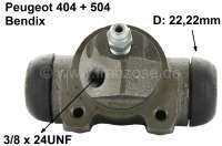 P 404/504, wheel brake cylinder at the rear right, suitable for Peugeot 404, starting from year of construction 5/1968. Peugeot 504 (1.9 + 2.1 Diesel), of year of construction 1970 to 1975. Brake system Bendix. Piston diameter: 22,22mm. Brake line connector: 3/8 x 24UNF. Total length: about 72mm. Or. Nr. 4402.22. Made in Europe. - 74419 - Der Franzose