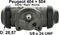 P 404/504, wheel brake cylinder at the rear right. System Bendix. Piston diameter: 28,57mm. Brake line connector: 3/8 x 24UNF. Mounting board bore: 36mm. Length over everything: 82mm. Suitable for Peugeot 404, starting from year of construction 10/1969. Peugeot 504 Pick UP, of year of construction 06/1979 to 09/1981. Or. No. 4402.28. Made in Europe. - 74051 - Der Franzose