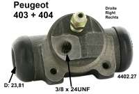 Wheel brake cylinder rear right. for Peugeot 403 and 404, piston:15/16 inch,(23,81mm). Connector 3/8 x 24UNF. Or.Nr. 440227. Made in Europe. - 74300 - Der Franzose