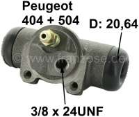 wheel brake cylinder rear right Peugeot 404+504. System Bendix, 20,64mm piston. Connection  3/8 24UNF (9,525mm).  404 all models with thermostable brakes starting from 1969 504 10/70 till 01/71. Overall length 84mm. Made in Europe. - 74424 - Der Franzose