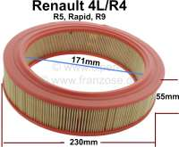 Air filter (A960). Suitable for Renault R4, Rapid, R5, R9. Outside diameter: 230mm. Inside diameter: 171mm. Amount: 55mm. - 82538 - Der Franzose