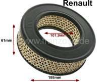 Air filter. Suitable for Renault R4 F4, of year of construction 08/1971 to 11/1981. R4 Rodeo (845cc). Outside diameter: 188mm. Inside diameter: 107,9mm. Amount: 61,2mm. - 82284 - Der Franzose