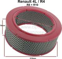 Air filter. Suitable for Renault R4, R8, R10. Outside diameter: 212mm. Inside diameter: 142mm. Amount: 78mm. - 82919 - Der Franzose