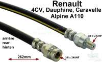 4CV/Dauphine/Caravelle/Alpine 110, brake hose rear. Suitable for Renault 4CV, Dauphine, Caravelle, Alpine A110. Length: 260mm. - 84155 - Der Franzose
