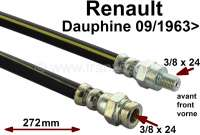 Dauphine, brake hose front. Suitable for Renault Dauphine, starting from year of construction 9/1963. Length: 272mm. Thread: 1x female thread 3/8 x 24UNF. 1x male thread 3/8 x 24UNF. Made in Spain. | 84097 | Der Franzose - www.franzose.de