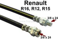 R16/R12/R15, brake hose front (on the left + on the right befitting). Suitable for Renault R16, of year of construction 1965 to 1976. Renault R12, R15. Length: 354mm. 1x female thread 3/8 x 24h. 1x male thread: 3/8 x 24h. Or. No. 7701348758 - 84132 - Der Franzose