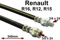 R16/R15/R12, brake hose front. Suitable for Renault R16, R12, R15. Length: 345mm. Thread: 1x female thread 3/8x24. 1x male thread 3/8x24. Made in Europe. - 84221 - Der Franzose