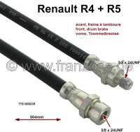 R4/R5, brake hose front. Suitable for Renault R4, starting from year of construction 1976 (drum brake). Renault R5. Length: 506mm. Thread: 1x male thread 3/8 x 24UNF. 1x female thread 3/8 x 24UNF. Or. No. 7701000239. Made in Europe. - 84060 - Der Franzose
