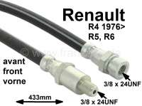 R4/R5/R6, brake hose front. Suitable for Renault R4, starting from year of construction 1976 (disc brake). Renault R5, R6. Length: 433mm. Thread: 1x male thread 3/8 x 24UNF. 1x female thread 3/8 x 24UNF. Or. No. 7700545267. Made in Europe. - 84061 - Der Franzose