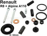 Rear engine, brake caliper repair set, for 1 brake caliper in the front or in the rear (32mm piston). Suitable for Renault 8 + Alpine 110. This repair set is equipped with sealing rubbers for pistons in 32mm. But note: Only suitable for one brake caliper!  Or No. 0870 293,000 + 0870 292,800. Only rubber seals, no pistons! - 84150 - Der Franzose