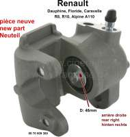 Rear engine, brake caliper at the rear right (new part). Brake system: Bendix. Piston diameter: 32mm. Suitable for Renault R8, R10, A110, Floride, Caravelle, Dauphine. Thread for brake hose: 3/8 x 24 UNF - 84182 - Der Franzose