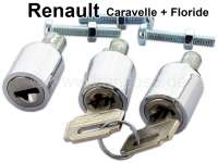 Caravelle/Floride, lockcylinder (3 pieces) with 2x key. Suitable for Renault Caravelle + Floride. Suitable for the Door in front on the left + on the right. By set. The lockcylinders are a reproduction! - 87785 - Der Franzose
