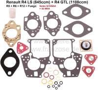 Carburetor repair set Solex 32 EISA4 + 32 SEIA. Suitable for Renault R4LS (845cc) + R4 GTL (1108cc). R5, R6, R12, Fuego. - 82873 - Der Franzose