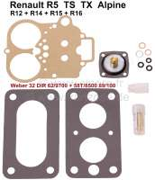 Carburetor repair set Weber 32 DIR 62/9700 + 58T/8500 89/100. Suitable for Renault R5 TS-TX-Alpine (1387cc). Renault R12, R14, R15, R16. - 82877 - Der Franzose