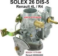 Carburetor SOLEX 26DIS-5 (no reproduction). Suitable for Renault R4L + R4LS (R1120, R2102, R1123, R1124, R1204). Engine: 747cm ³ + 845cm ³. Original SOLEX carburetor, no reproduction. Or. No. SOLEX: 11779 000. Renault: 0855824600 | 81357 | Der Franzose - www.franzose.de