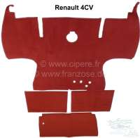 4CV, carpet set, suitable for Renault 4CV. 3 parts. Covers the whole passenger compartment. Color: dark red - 88249 - Der Franzose