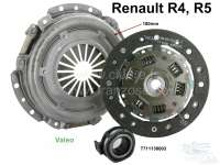 Clutch complet. Suitable for Renault R4 (956cc + 1108cc), of year of construction 1977 to 1992 (R1128, 112C, S128, 210B, 239B, R2370 chassis N° 153413 - > N°). Renault R5, R7, R12. The clutch has 180mm diameter, the clutch disk 20 teeth. Brand quality (SACHS/Valeo). Or. No. 7711130003 (complet). 7701349936 (clutch disk). 7711130000 (pressure plate). 7701348231 (clutch release sleeve). - 82118 - Der Franzose