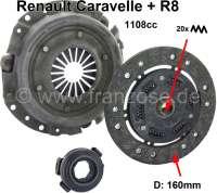 Clutch completely. Suitable for Renault Caravelle (1108cc). Renault R8 (1108cc). Diameter: 160mm. Teeth: 20. - 82567 - Der Franzose