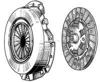 Clutch completely. Suitable for Renault Dauphine, Floride, 4CV. Diameter: 160mm. Teeth: 10. The mounting of the primary shaft in the clutch disk is curved! - 82564 - Der Franzose