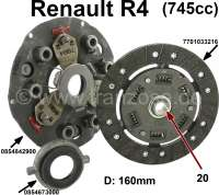Clutch completely. Suitable for Renault R4 with 745cc engine, from the seventies. Diameter: 160mm. Finetoothed (20 teeth). Old version of the pressure plate (3 lever) + graphite clutch release sleeve. 7701033216, 0854842900, 0854673000 | 82689 | Der Franzose - www.franzose.de