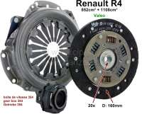 Clutch completely. Suitable for Renault R4 (852cc + 1108cc), to year of construction 1975 (R2106, R2109 1968>, R2391, R1120, R1123, R1126). Gearbox 354. The clutch has 160mm diameter, the clutch disk 20 teeth. Brand quality (VALEO). Or. No. 7701464763 (complete). 7701033150 (clutch disk). 7701032876 (pressure plate). 7701616841 (clutch release sleeve) - 82096 - Der Franzose