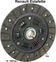 Clutch disk. Diameter: 180mm. Teeth: 10. Suitable for Renault Estafette. (181x124x3,2mm), (23x18x10mm) - 82815 - Der Franzose