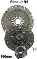 Clutch set Renault R4 (852cc + 1108cc). 20 teeth. 160mm diameter. Gearbox 354. Installed to year of construction 1981 (R1129, R2108, R2370, R2430). R-5 TL (956 cc) >1979. R6 TL (1108cc)  1969 > 1980. R8S + R10 (1108cc)  1970 > 1971. Reproduction - 82091 - Der Franzose