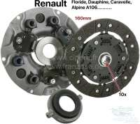 Clutch set Renault rear engine (Floride, Dauphine, Caravelle, A106, etc.). 10 teeth (the clutch disk has torsion springs). 160mm diameter. Clutch release sleeve