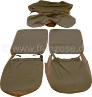 4CV, coverings (2x front seat, 1x rear seat). Material with vinyl brown (Marron). Suitable for Renault 4CV. - 88213 - Der Franzose